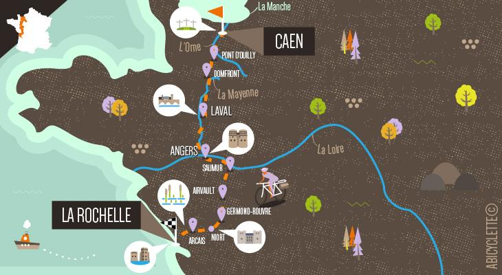 Carte itinéraire Velo Francette Caen La Rochelle
