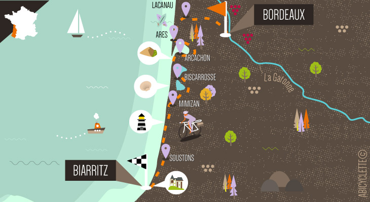 Carte itinéraire séjour à vélo La Vélodyssée, de Bordeaux à Biarritz