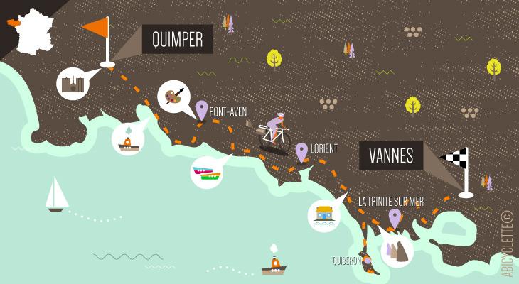 Carte séjour à vélo La Bretagne de port en port 5