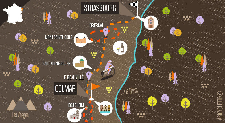 La route de vins Alsace à vélo - Abicyclette Voyages
