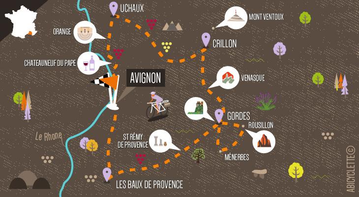 carte voyage à vélo Provence deluxe