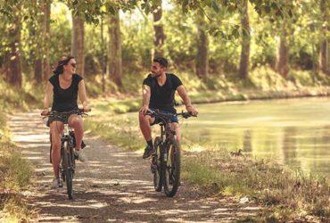 Vélo bord du Canal du Midi sous les platanes