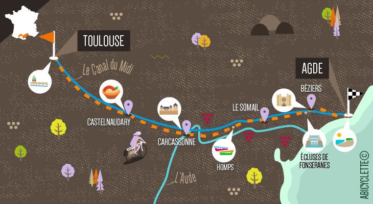 Carte séjour Canal du Midi à vélo
