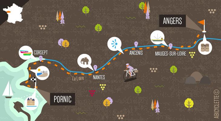 Carte séjour Loire à vélo 4 : Angers à Pornic