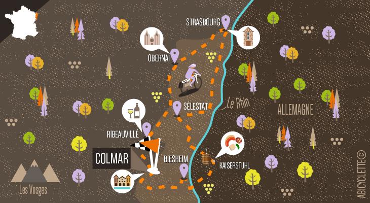 Carte Alsace à vélo entre vignoble, canaux et Allemagne