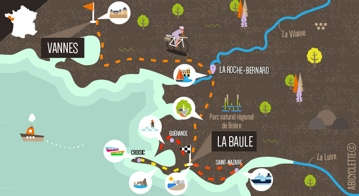 Carte Bretagne de port en port 6 - Vannes - La Baule
