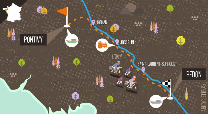 Carte itinéraire Canal de Nantes à Brest en famille