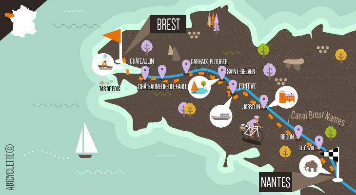 Carte itinéraire Le Canal de Nantes à Brest intégral