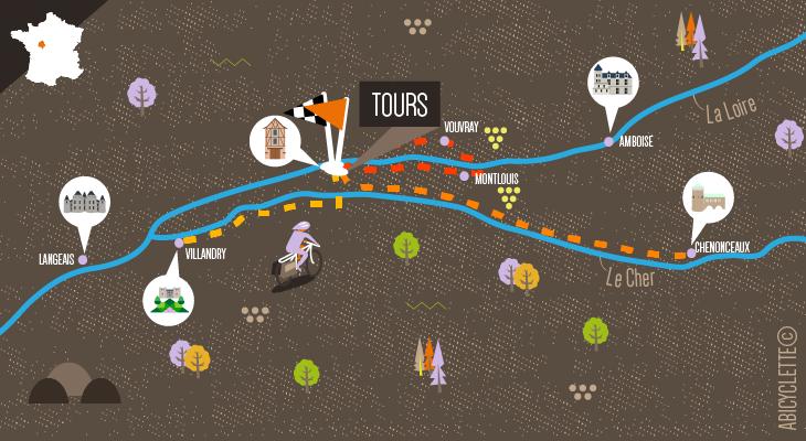 Carte Week-end à Tours sur la Loire à vélo