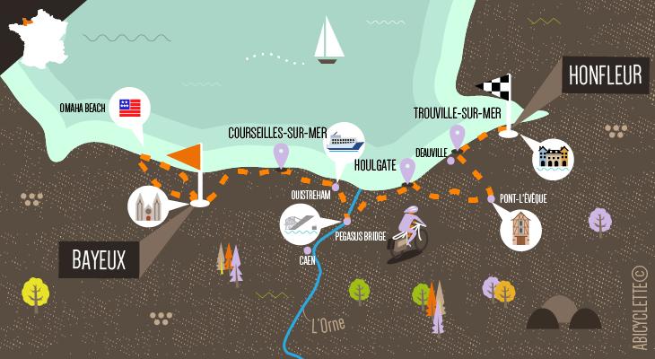 Carte De Bayeux à Honfleur par la Côte de Nacre et la Côte Fleurie