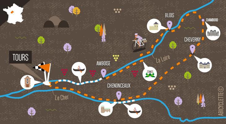 Carte séjour : Les châteaux de la Loire en canoë et à vélo