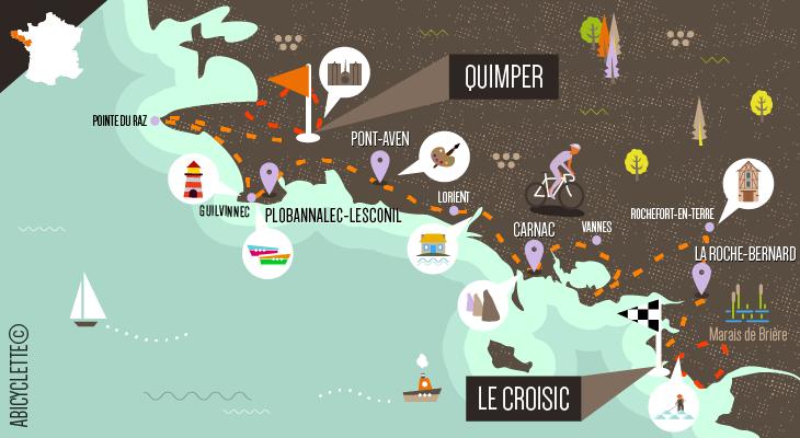 Carte Grande Traversée de la Bretagne sud