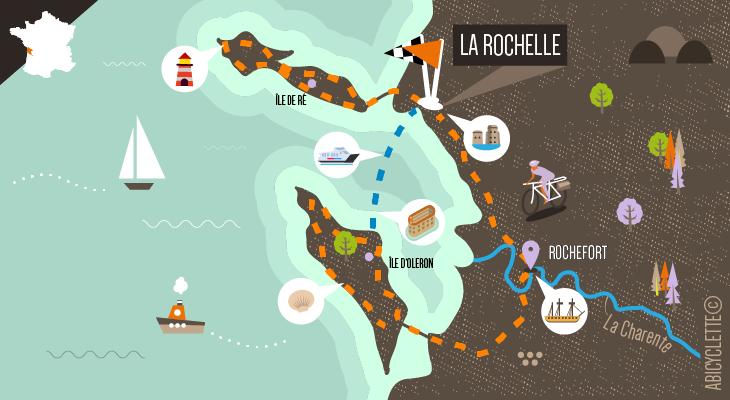 Carte L'île d'Oléron et l'île de Ré à vélo