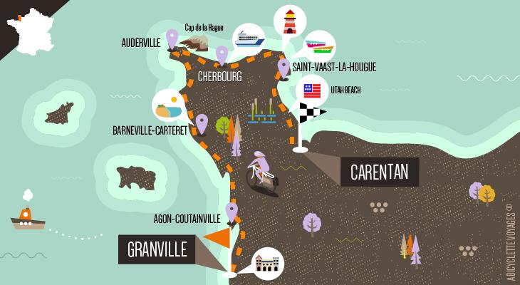 Itinéraire Le tour de la presqu'île du Cotentin