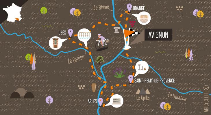 Carte Le Gard, les Alpilles et les côtes du Rhône