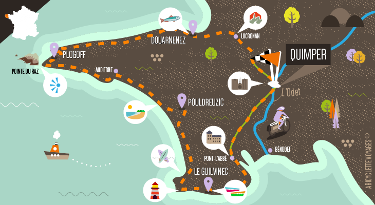 Itinéraire La Pointe du Raz et le Finistère Sud