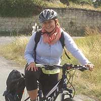 voyageuse à vélo en Val de Loire