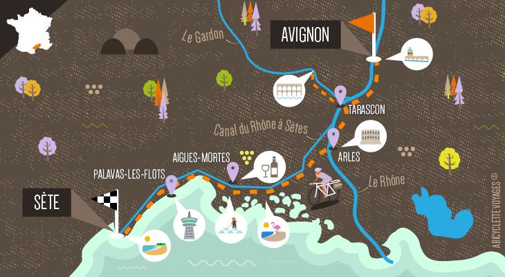 Itinéraire La ViaRhôna et la Méditerranée à vélo, d'Avignon à Sète