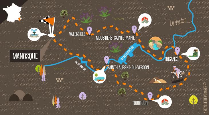 Carte séjour Le Verdon à vélo : ses gorges, ses lavandes et ses lacs
