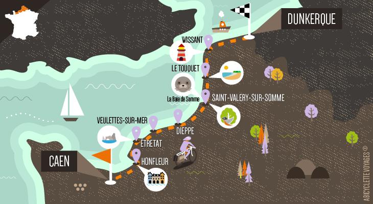 Carte La Vélomaritime de Caen à Dunkerque